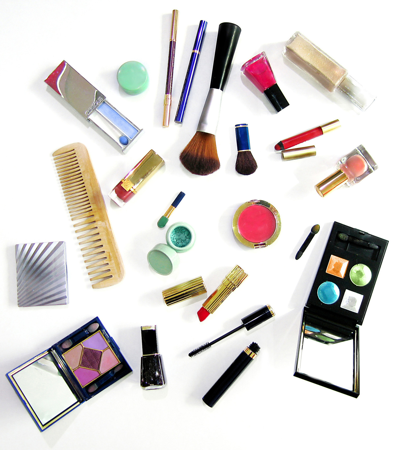 Makeup items scattered