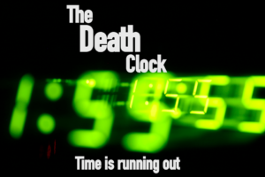 digital book cover the death clock time is running out
