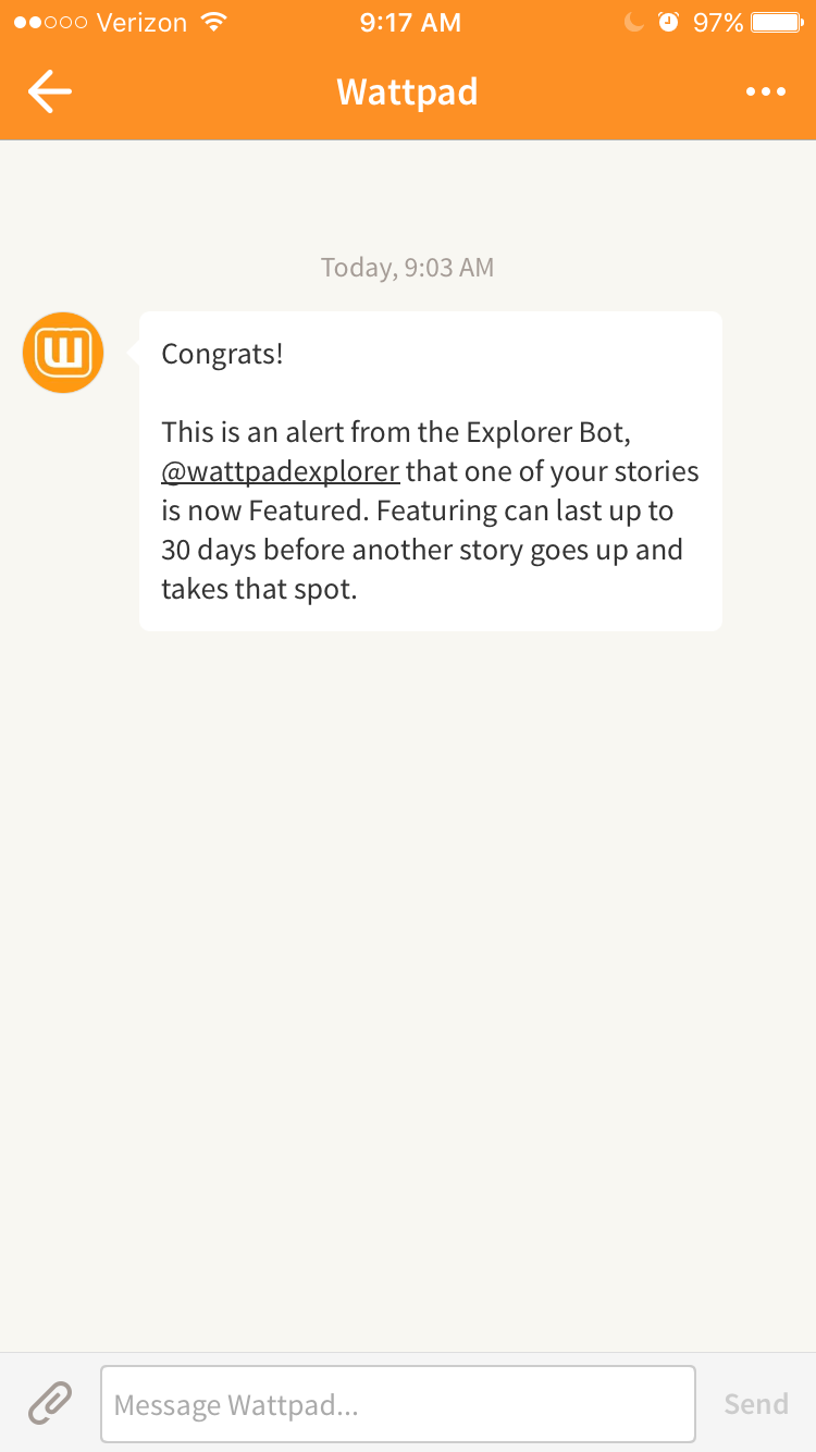 WattPad Featured Notification