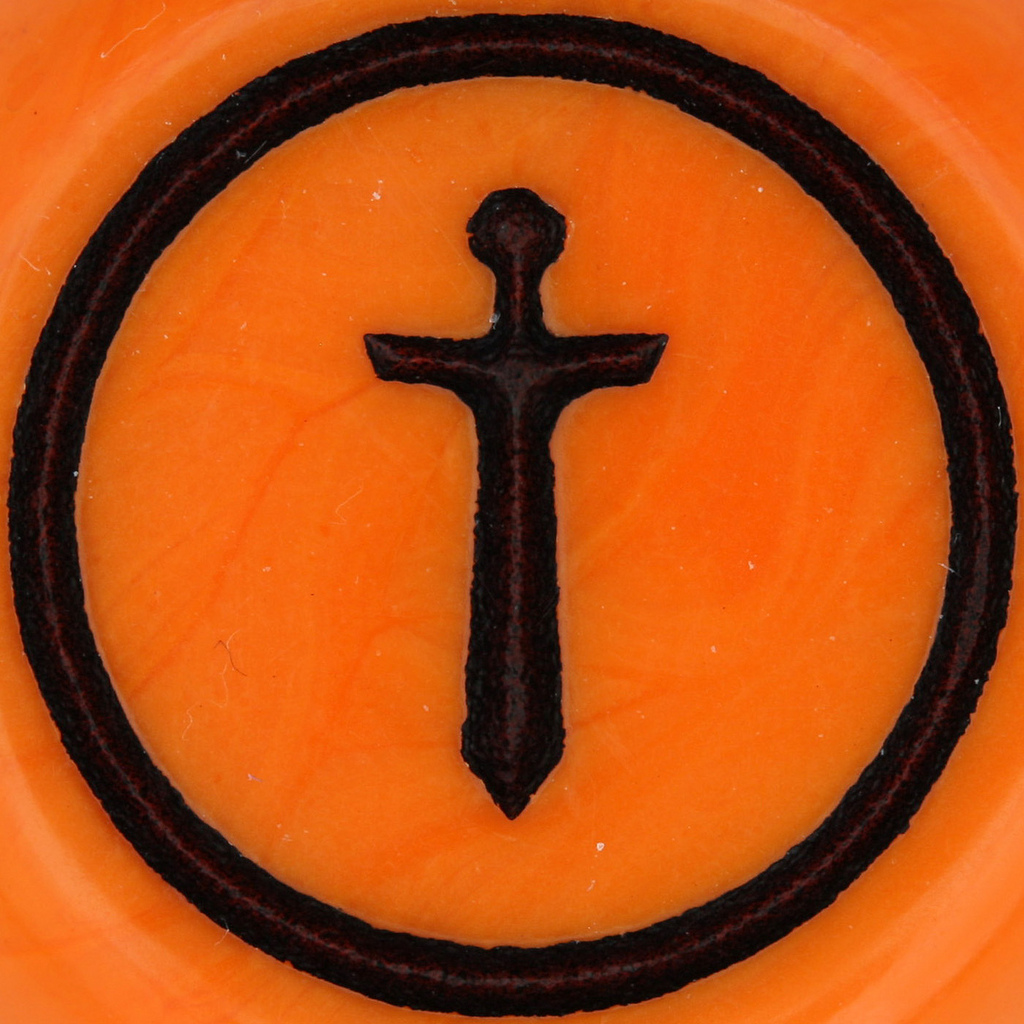 Orange background with black dagger