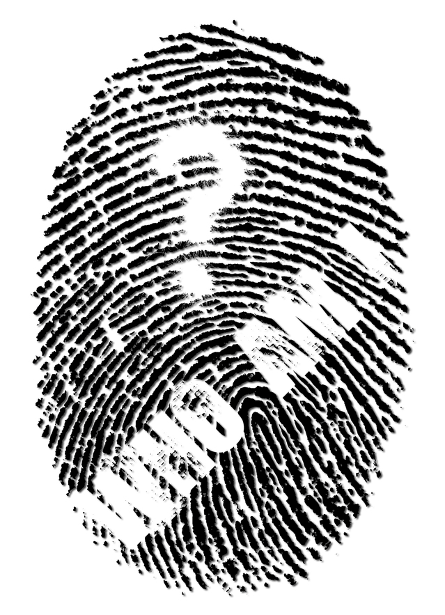 Identity and finding who you are black and white fingerprint