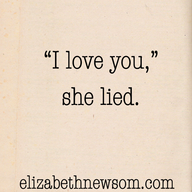 """""""I love you,"""" she lied. Old paper and type writer."""